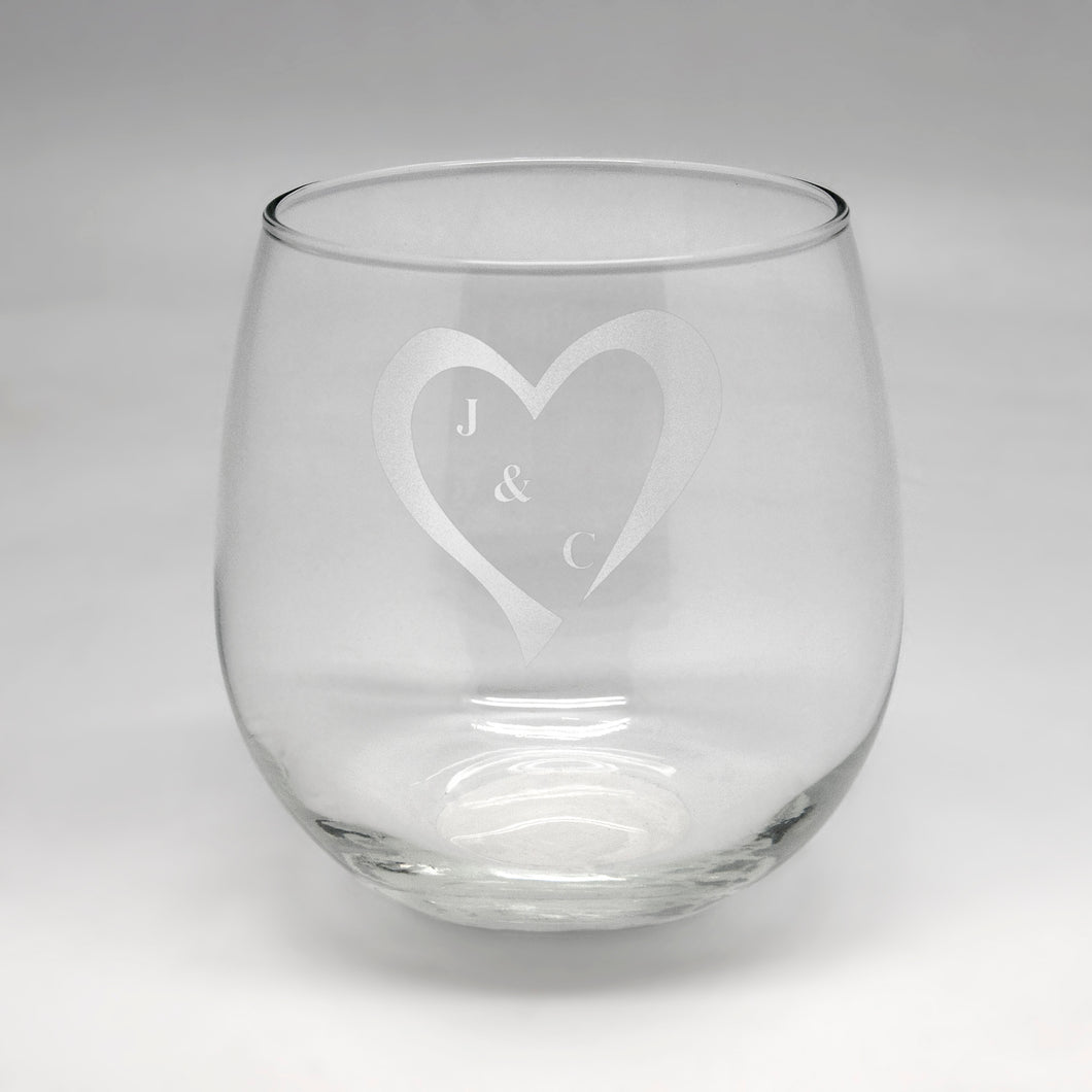 Initials in Heart Lg Clear Stemless Wine Glass