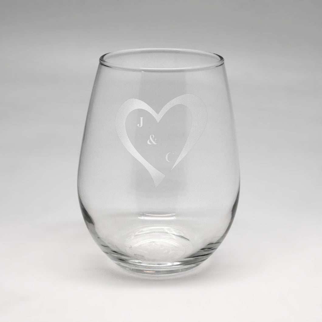 Initials in Heart Sm Clear Stemless Wine Glass