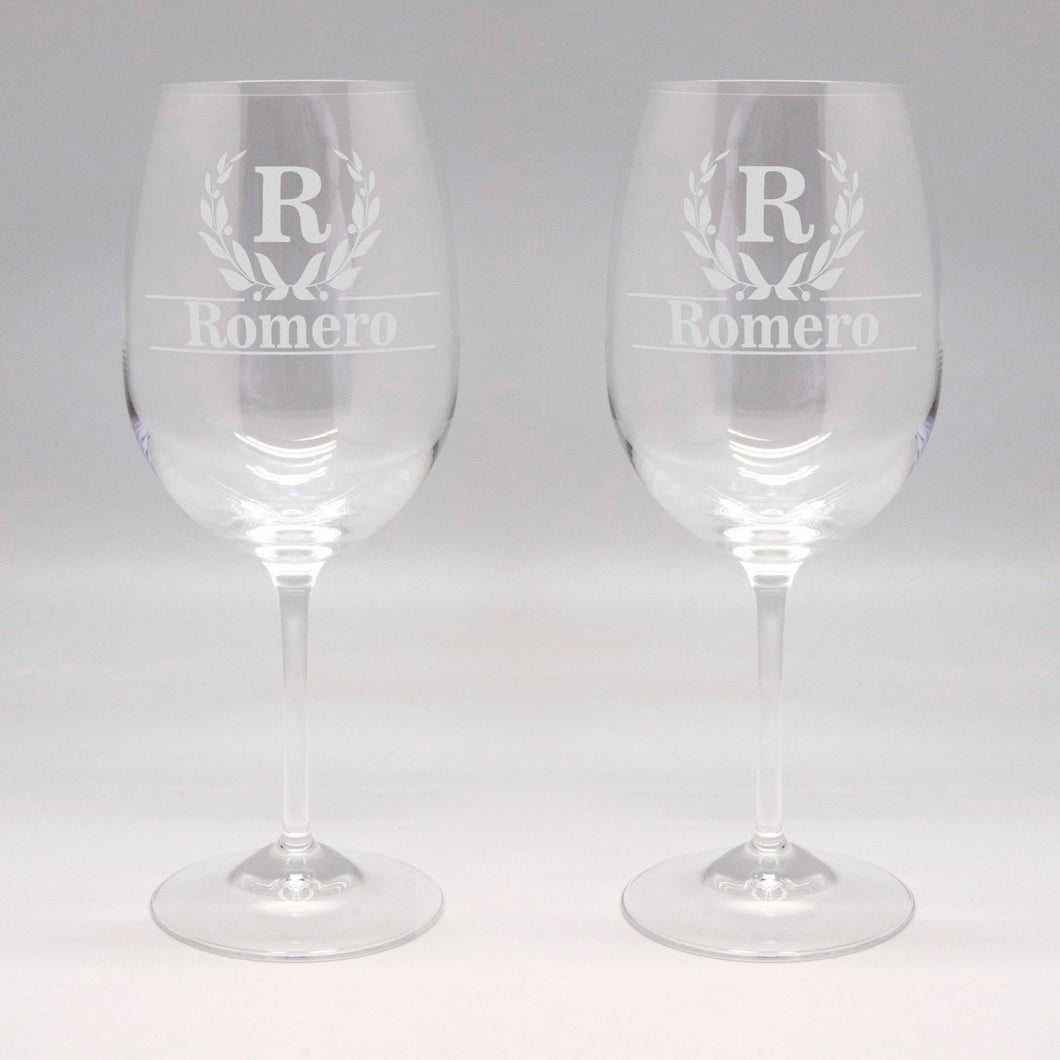 20 oz Initial & Last Name Wine Glass Set