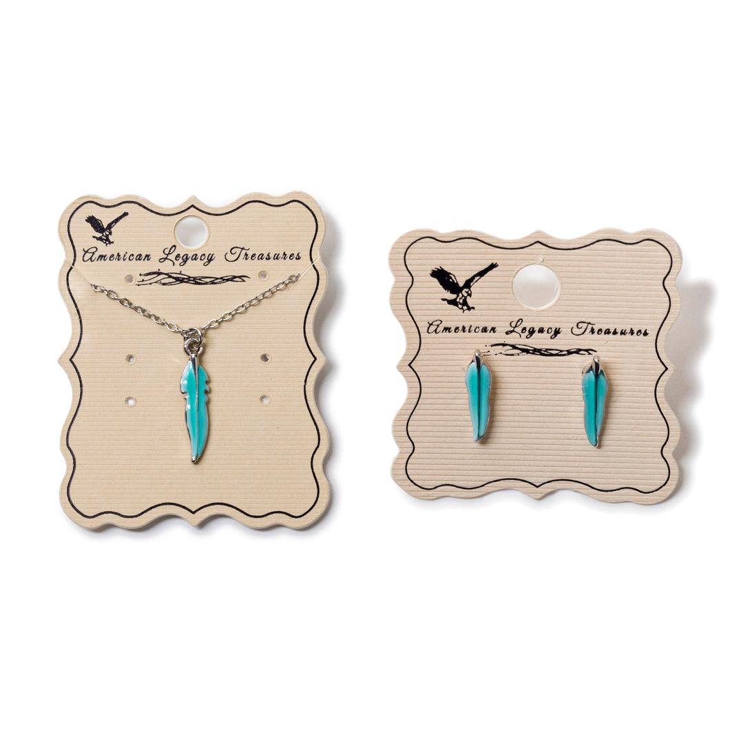 Turquoise Color Feather Jewelry Set