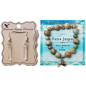 Quartz Stone Earrings & Terra Jasper Bracelet Set