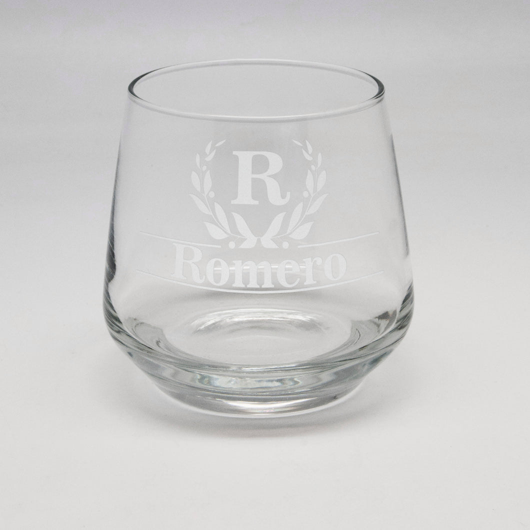 11.75 oz Initial & Last Name Rocks Glass