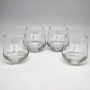 11.75 oz Two Initials Rocks Glass Set of 4