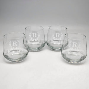 11.75 oz Initial & Last Name Rocks Glass Set of 4