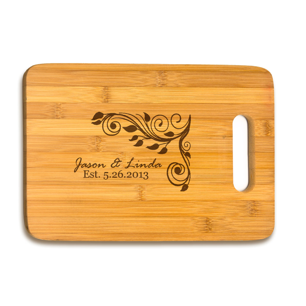 Large Bamboo Cutting Board Name & Date