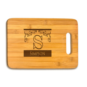 Large Bamboo Cutting Board Inital & Name
