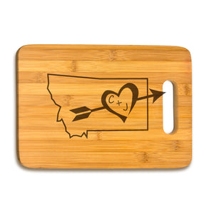 Large Bamboo Cutting Board Initials & State Shape