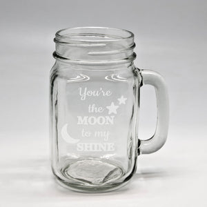 Moon Shine Pint Mason Jar With Handle
