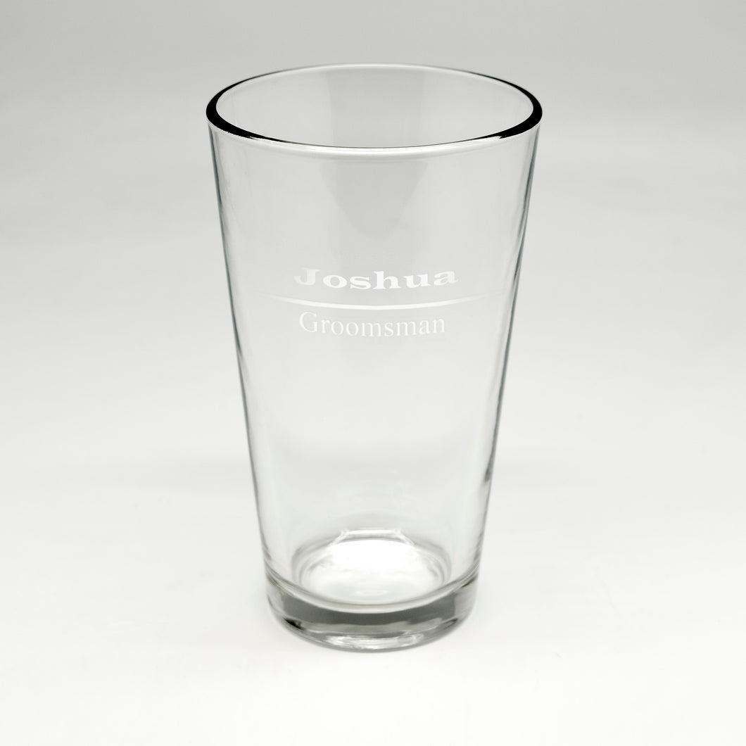 Name & Designation Pint Glass