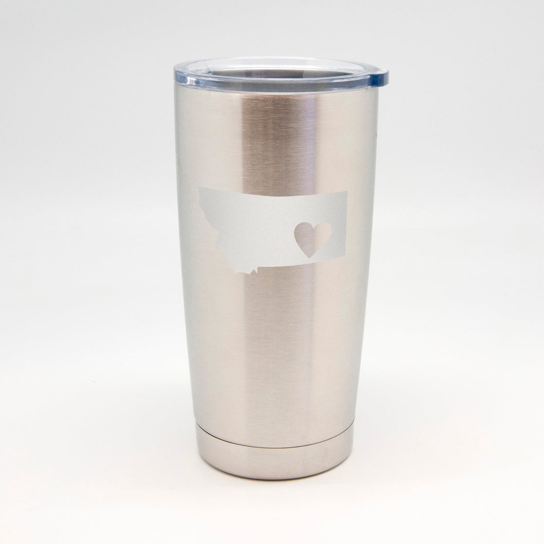 Heart Inside State Stainless Metal Tumbler