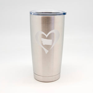 Heart Outside State Stainless Metal Tumbler