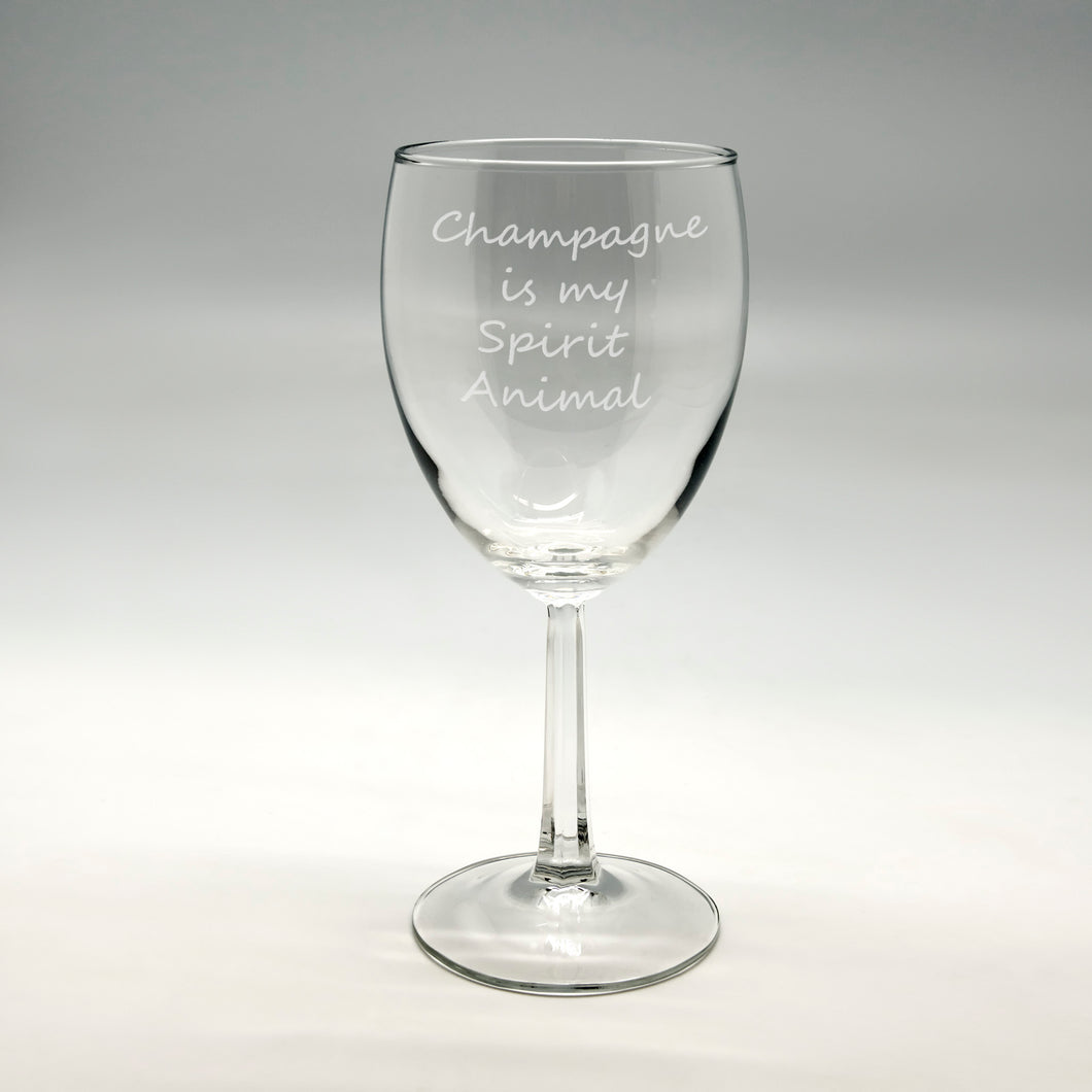 Champagne Spirit Animal Wine Glass 8.5 oz