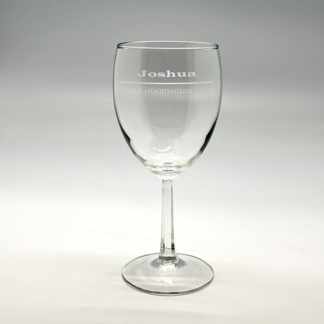 Name & Designation Wine Glass