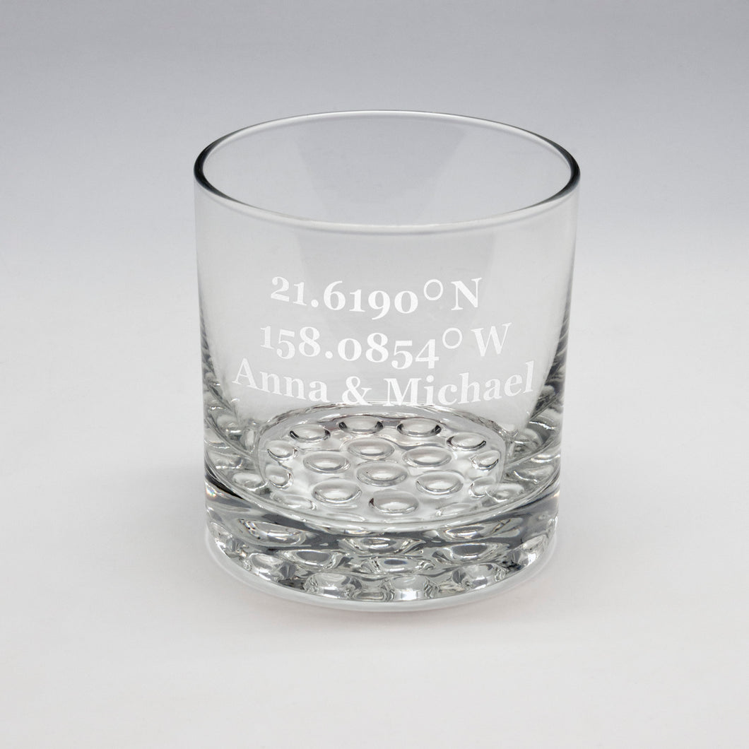 GPS Coordinates Whiskey Glass