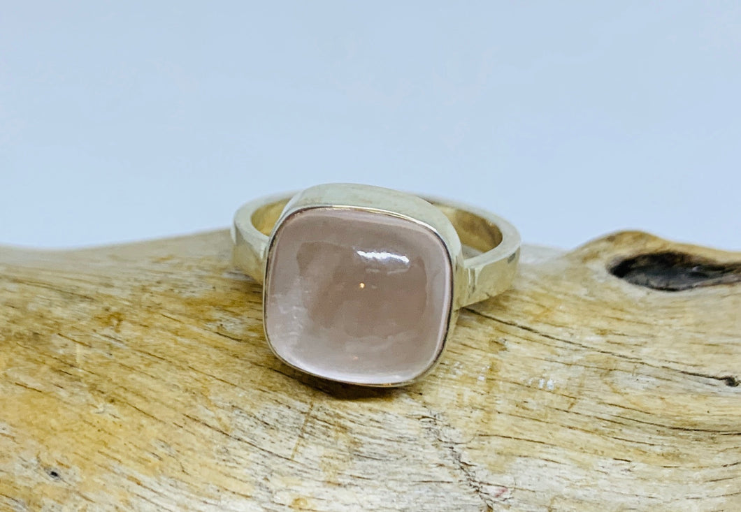 Square Rose Quartz Ring      Size 8