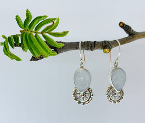 Gem drop Moonstone earrings