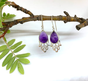 Hamsa Amethyst  earrings