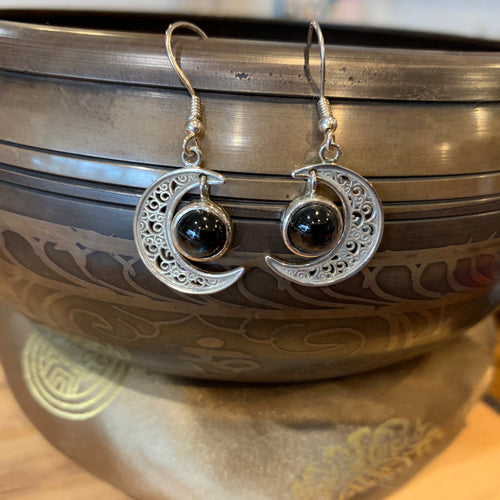Crescent Moon Star Sapphire Earrings