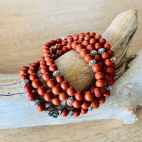 Red Jasper Wrap beaded Bracelet with Buddha charm