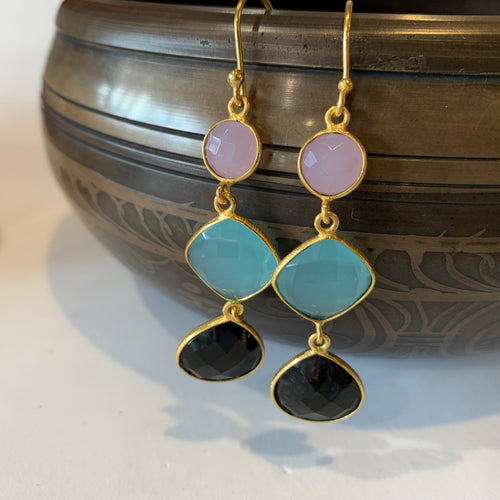 Chalcedony Gold Gem Drop Earrings