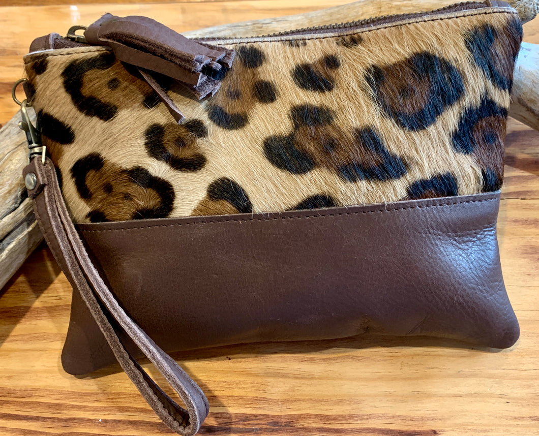 Large Moo Clutch Goat with Cow hide