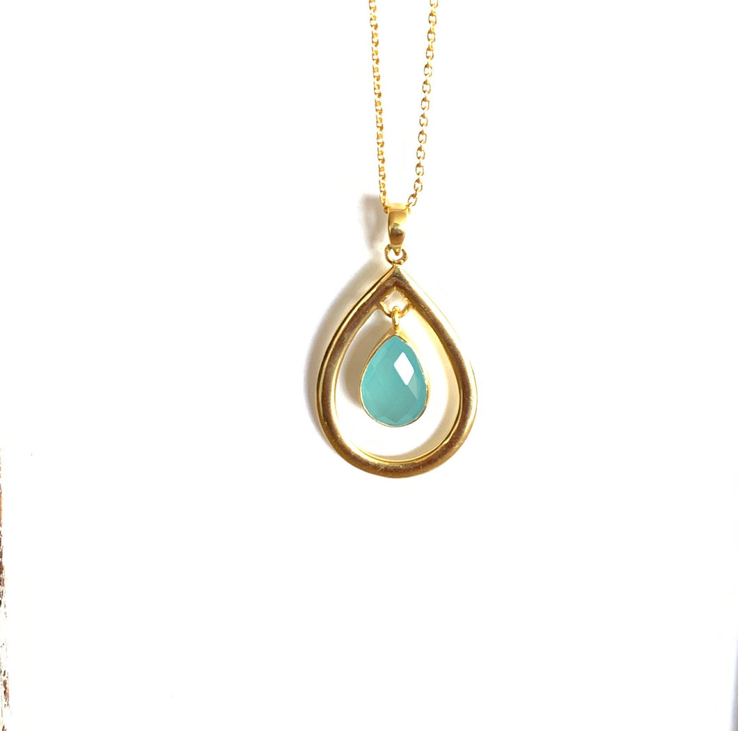 Chalcedony Gold Gem Drop Pendant