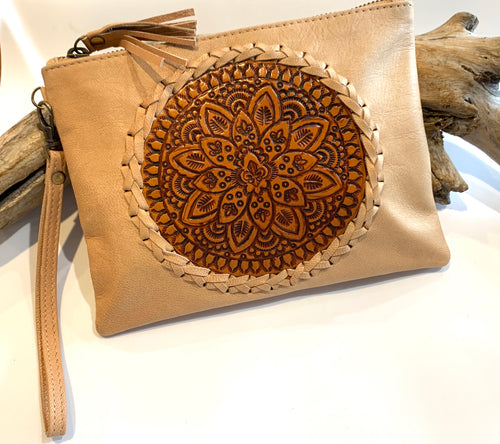 Circle of Life Leather Clutch