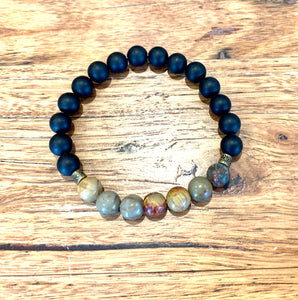 Picasso Jasper and Black Agate Bracelet