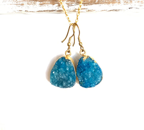 Aqua druzy brass Earrings