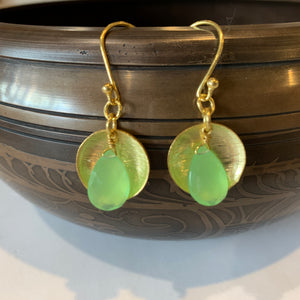 Chalcedony Prehnite Gold Drop Earrings