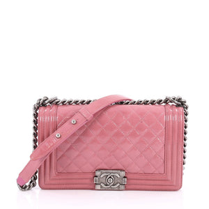 3f883855df4a Chanel Boy Flap Bag Quilted Crinkled Patent Old Medium In Pink ...