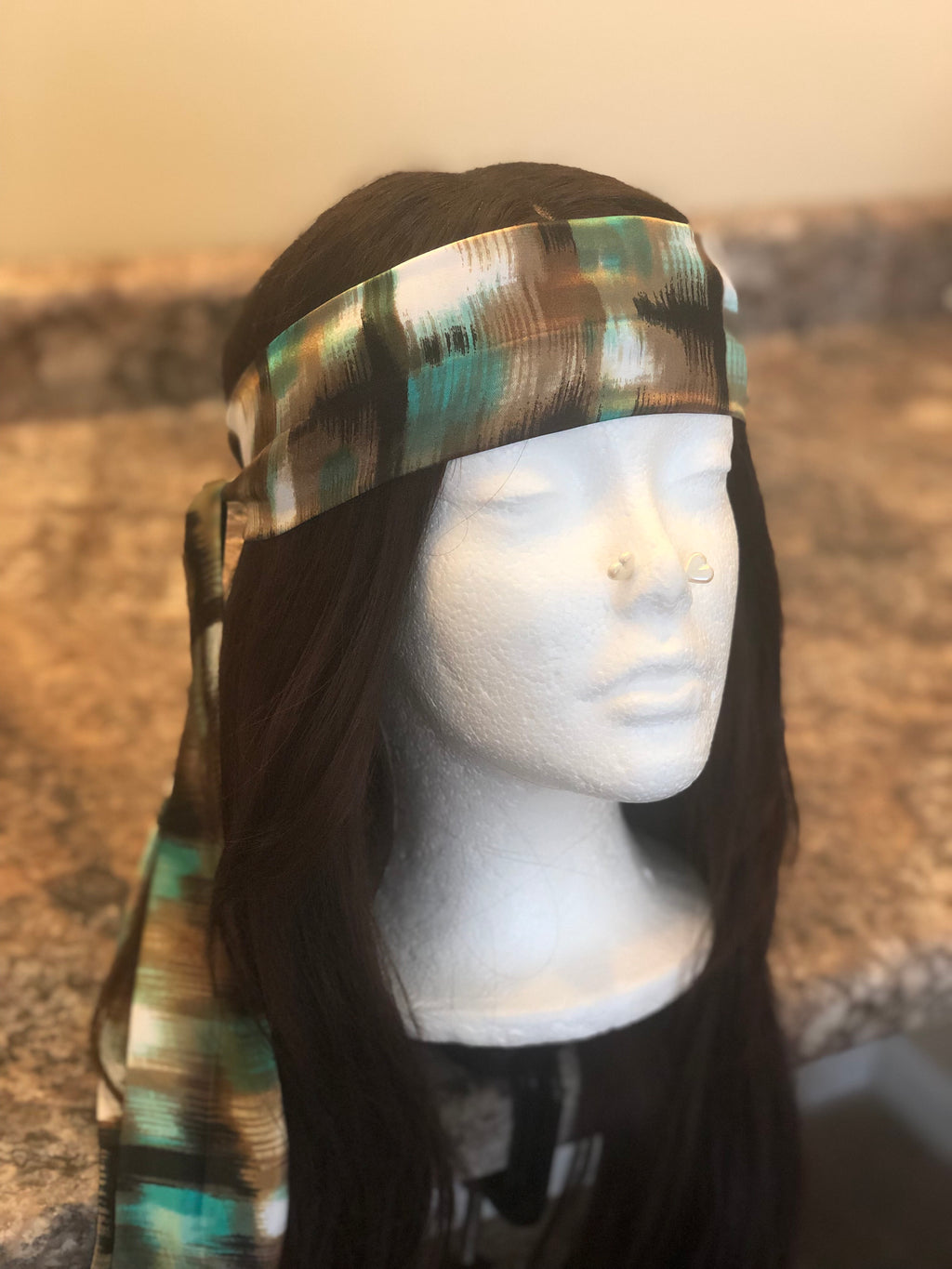 Turq&Tan Canvas Satin Headband