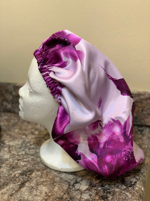 Purple Flowers Satin Bonnet