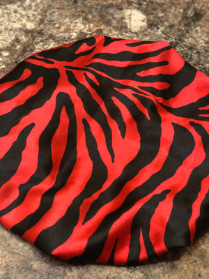 Red Zebra Satin Bonnet