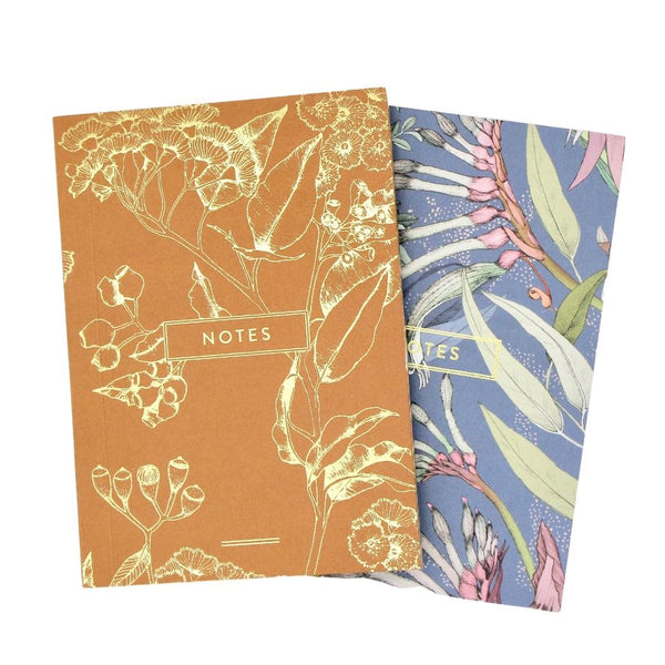 Set of Two Desert Pea Letterpress hot foil printed A6 notebooks