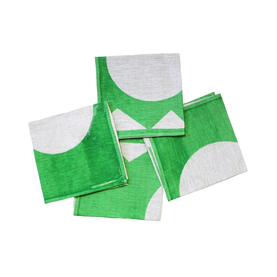 Green Linen Printed Napkins