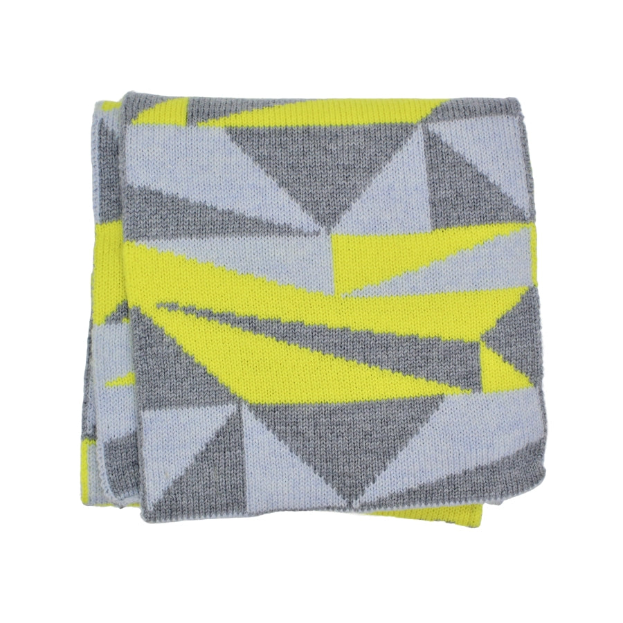 Woollen Grey and Yellow Geometric Scarf
