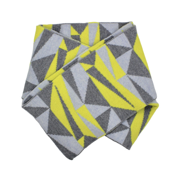 Woollen Yellow and Grey Geometric Scarf