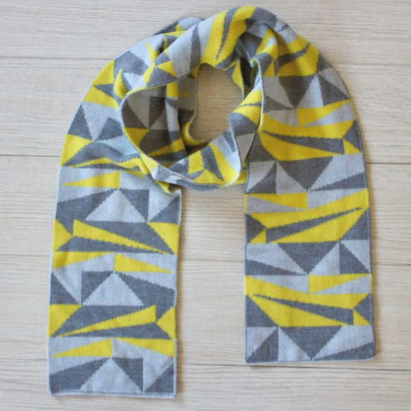 Grey and yellow geometric merino wool scarf