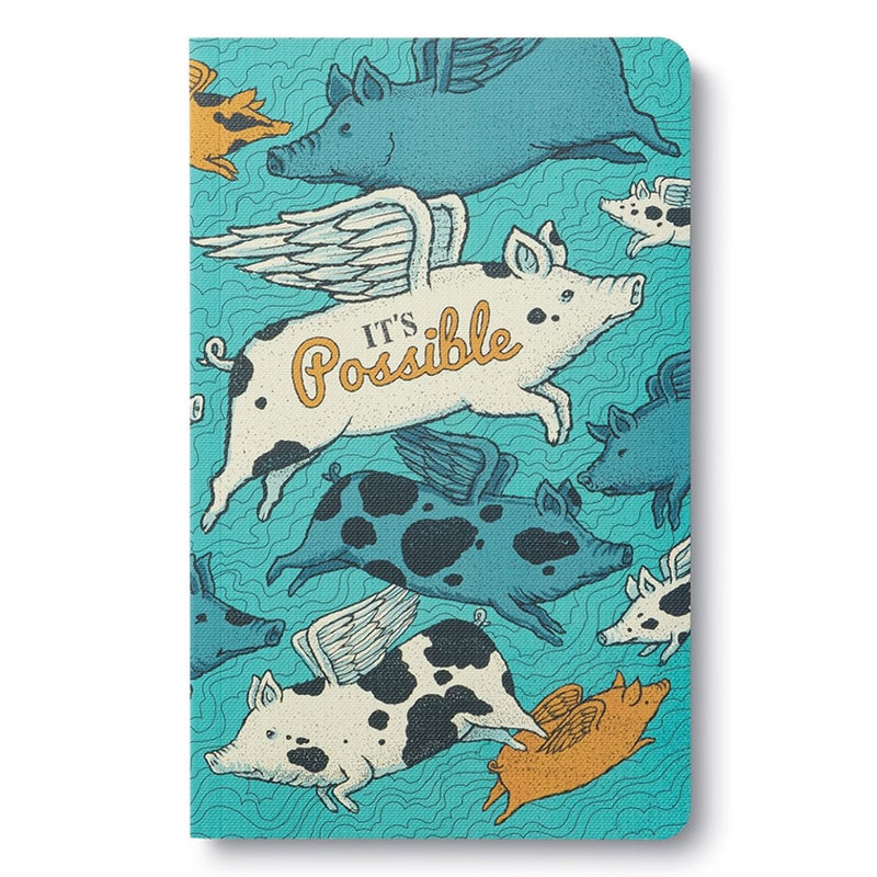 This 'It's Possible' notebook features a lovely graphic showing pigs flying! This positive message helps you aim high and dig deep.  This softcover notebook also features a beautiful design, modern typography, bold sentiments, striking artwork, and periodic typeset quotations.
