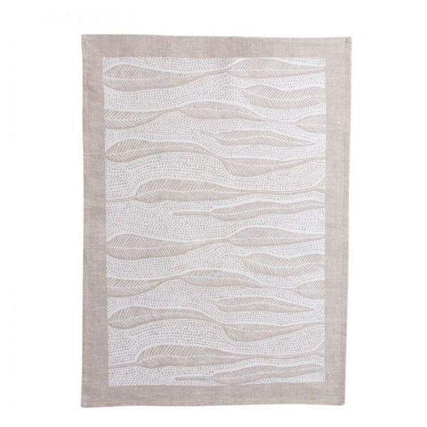 Hand Printed Linen Gum Leaf Tea Towel