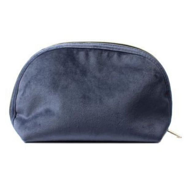 Luxury Velvet Dark Blue Zip Pouch