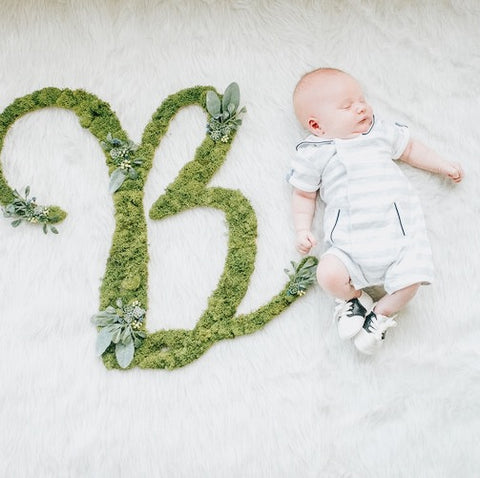 B moss and greenery letter