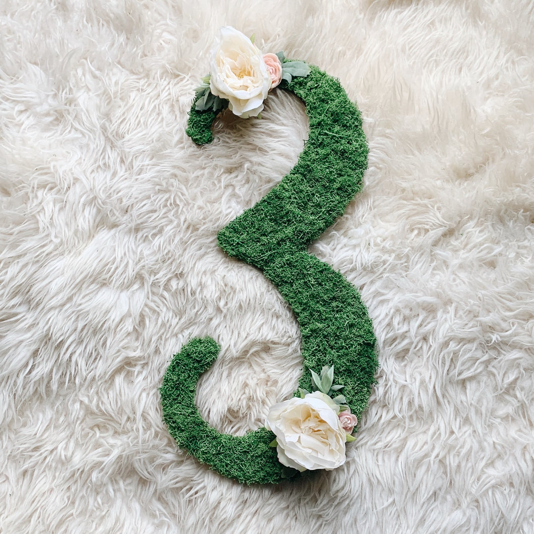 Moss Floral Number Sign - Fancy Font