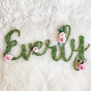 Custom Moss Floral Name - Fancy Font