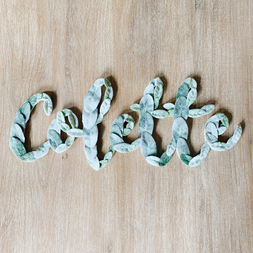Custom Lambs Ear Name Sign - Fancy Font