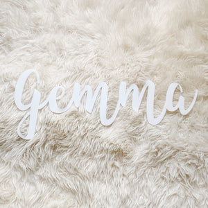 Custom White Acrylic Name - Fancy Font