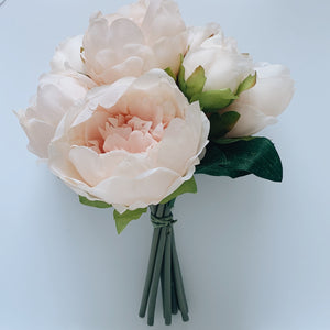 "Blush Pink Peony Bouquet - 9"" - Flower #49"