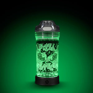 POP Lights Pizza Dinosaur 14oz Water Bottle with Green Light On
