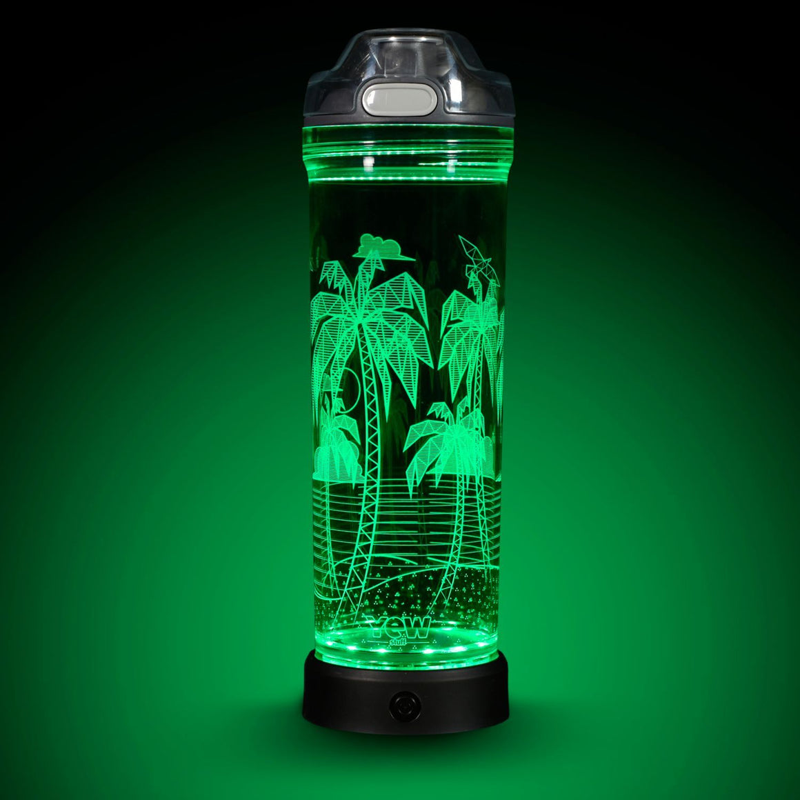 POP Lights Palm Trees 22oz Water Bottle with Green Light On